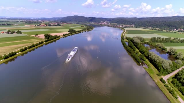 bavarian danube valley in springtime - river danube video stock e b–roll