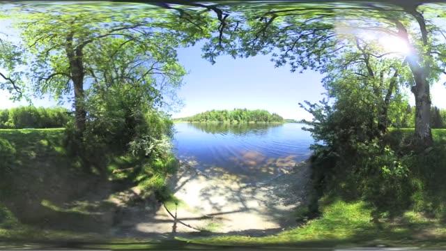 360 vr: bavarian lake in spring - 360 grad panorama stock-videos und b-roll-filmmaterial