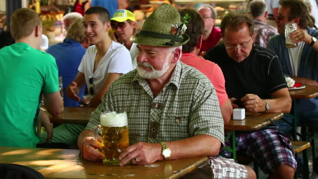 MS Bavarian man enjoying beer in a beer garden