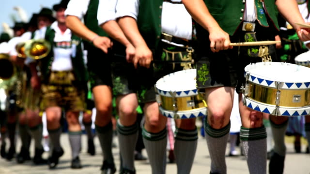 bavarian musicians performing in street parade - drum percussion instrument stock videos & royalty-free footage