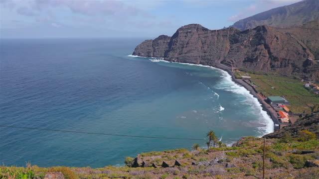 Bay and beach of Hermigua on Canary Islands La Gomera in the province of Santa Cruz de Tenerife - Spain