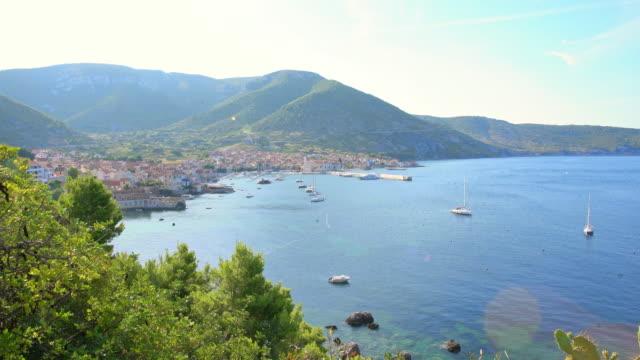 ws bay and coastal town in dalmatia - coastline stock videos & royalty-free footage