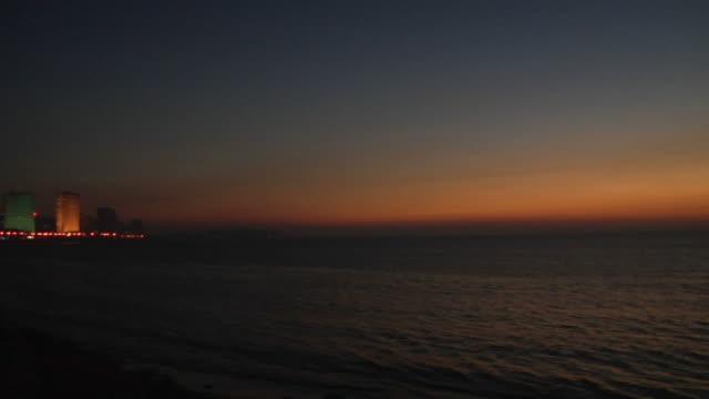 WS, PAN, Bay and Marine Drive at dusk, Mumbai, Maharashtra, India