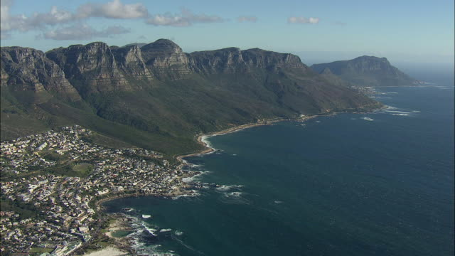 AERIAL Bay and Twelve Apostles range with Kloof Nek Saddle in foreground, Cape Town, Western Cape, South Africa