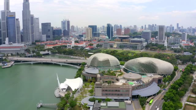 bay area in downtown singapore. esplanade theatre. - singapore stock videos & royalty-free footage