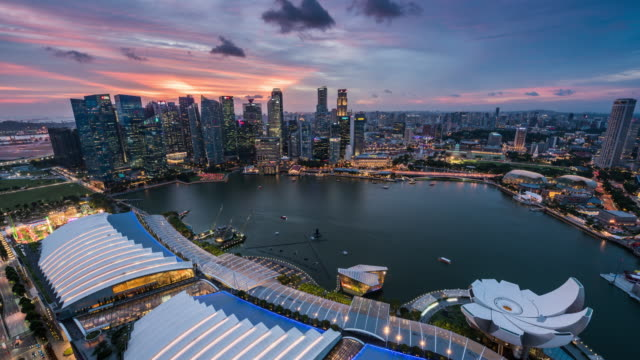 bay area in downtown singapore, timelapse/4k/singapore - panorama stock-videos und b-roll-filmmaterial