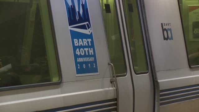 vídeos y material grabado en eventos de stock de bay area rapid transit subway system commuter rail under threat of strike bart at bart station on august 02 2013 in san francisco california - bart