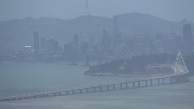 bay bridge aerial - heat haze stock videos & royalty-free footage