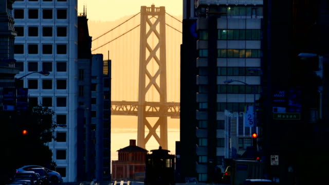 bay bridge and downtown san francisco - san francisco california video stock e b–roll