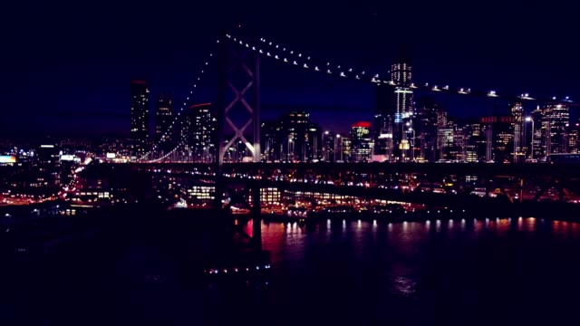 bay bridge at night - san francisco stock-videos und b-roll-filmmaterial