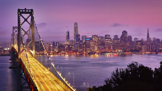bay bridge in san francisco - panoramic stock videos & royalty-free footage