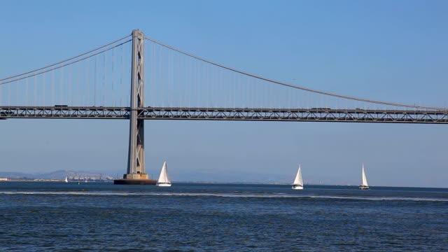 vídeos y material grabado en eventos de stock de puente de la bahía - puente colgante