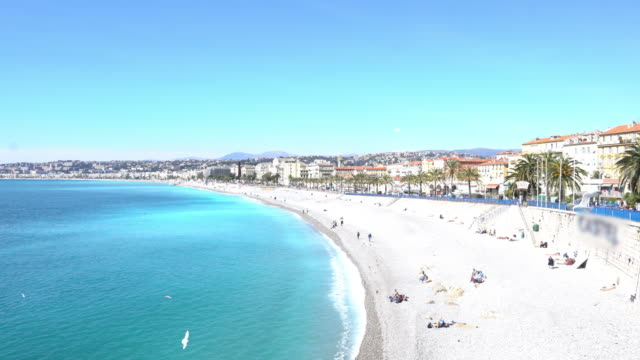 bay of angels in nice, france. - france stock videos & royalty-free footage