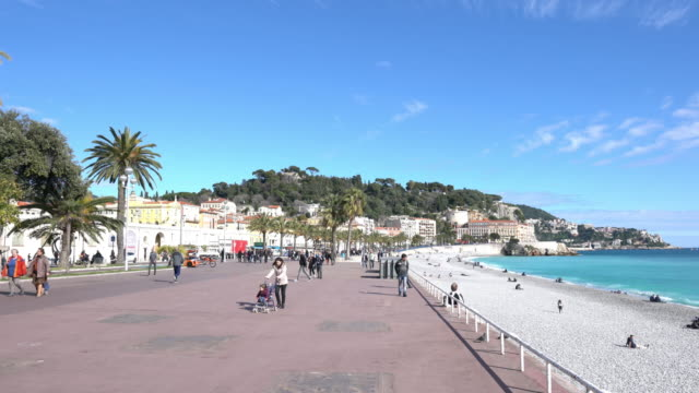 bay of angels in nice, france. - promenade stock videos & royalty-free footage