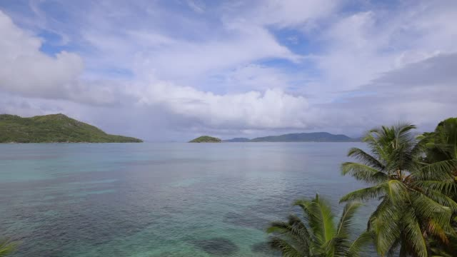 Bay of Baie Sainte Anne with view on La Digue - Praslin island , Seychelles , archipelago country in the Indian Ocean