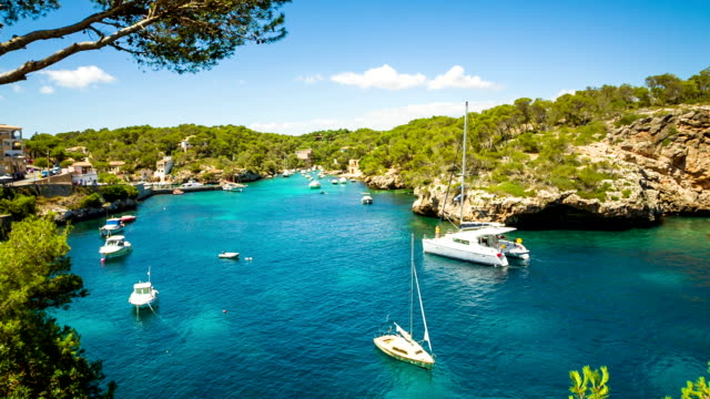 bay of cala figuera, majorca / spain - balearic islands stock videos and b-roll footage