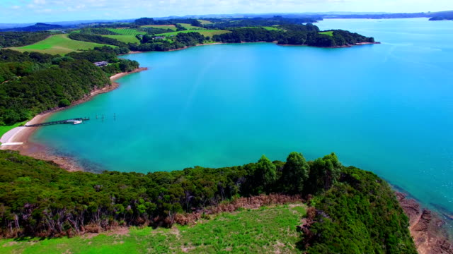 bay of islands aerial video - bay of islands new zealand stock videos & royalty-free footage