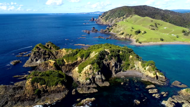 bay of islands aerial view - new zealand stock videos & royalty-free footage