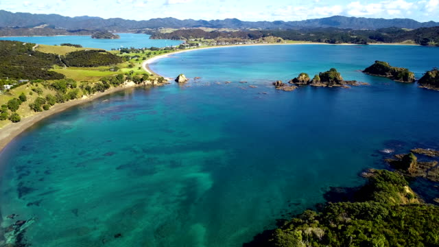 bay of islands aerial view - bay of water stock videos & royalty-free footage
