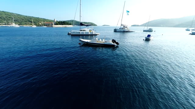 aerial bay on the island vis - anchored stock videos & royalty-free footage