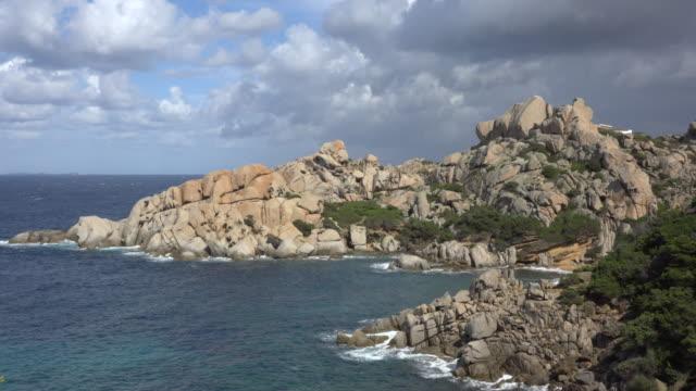 bay with granite rocks on capo testa - sassari stock videos & royalty-free footage