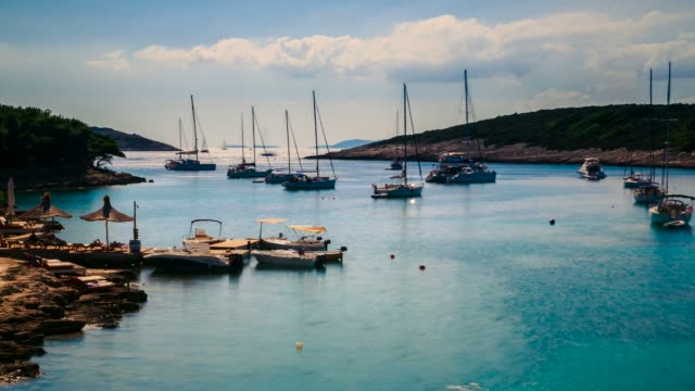 Bay with sailing boats, Island Hvar, Croatia