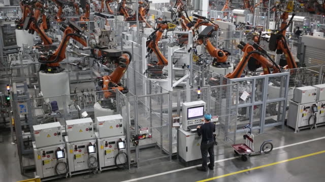 bayerische motoren werke ag sports utility vehicle body frame progresses down an assembly line at the bmw manufacturing co. assembly plant in greer,... - automated stock videos & royalty-free footage
