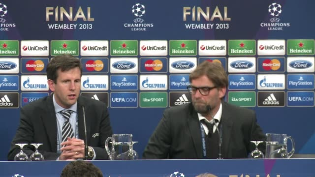 Bayern wins 21 over Borussia Dortmund in Saturdays Champions League final CLEAN Press conference of Borussia Dortmund on May 26 2013 in London England