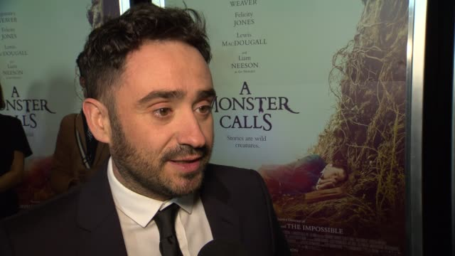 interview j a bayona talks about expressing truth as a director through fantasy at a monster calls new york premiere presented by focus features at... - amc loews stock videos and b-roll footage