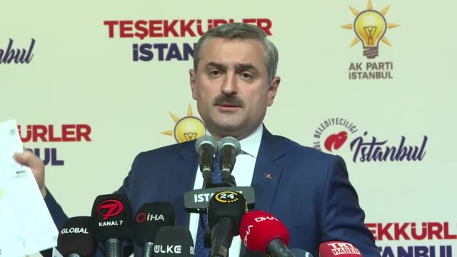 bayram senocak, the istanbul provincial head of the ruling justice and development party speaks at a party meeting in istanbul, turkey on april 01,... - istanbul province stock videos & royalty-free footage