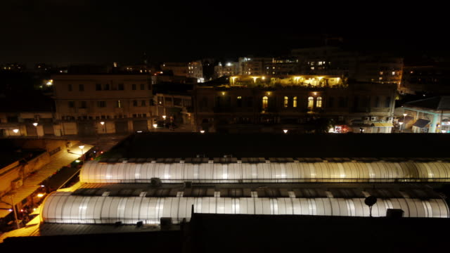 bazaar / market hall in jaffa at night from above - time lapse - spoonfilm stock-videos und b-roll-filmmaterial