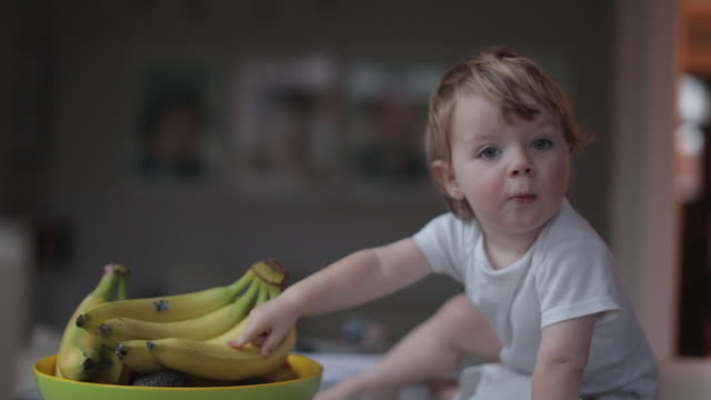 vidéos et rushes de bbay boy poking bananas at breakfast - coupe à fruits