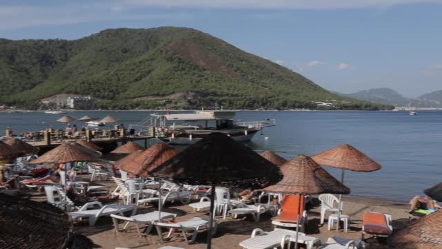 beach & aegean sea iclemer, marmaris, anatolia, turkey - marmaris stock videos & royalty-free footage