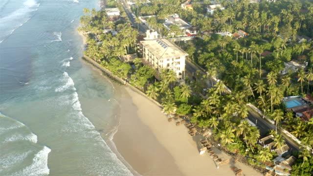 beach aerial from southern sri lanka - sri lanka stock videos & royalty-free footage