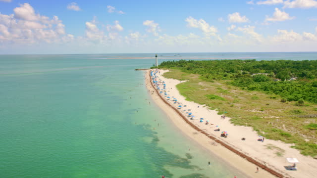aerial beach along the bill baggs state park and the cape florida light - florida us state stock videos & royalty-free footage