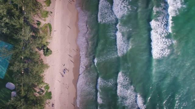 aerial ws beach and ocean waves viewed from above in phuket/thailand - andamansjön bildbanksvideor och videomaterial från bakom kulisserna
