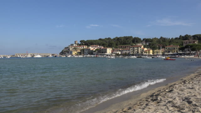 zi / beach and village marina di campo - island of elba stock videos & royalty-free footage