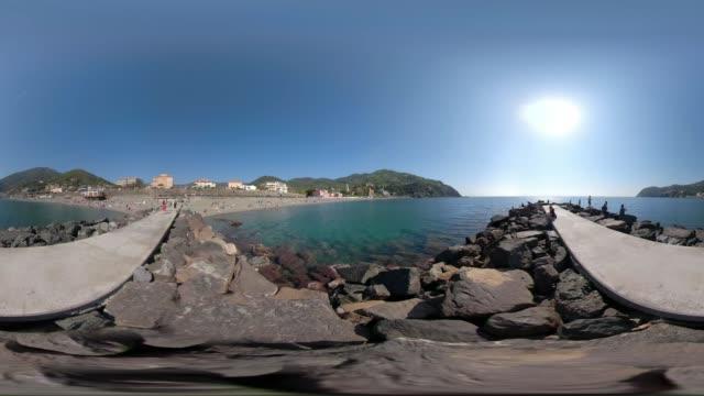 360 VR / Beach and village of Levanto at mediterranean sea