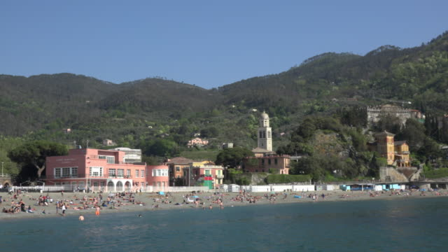 PAN / Beach and village of Levanto at mediterranean sea