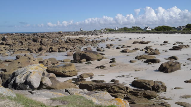 beach at low tide with rock formation - low tide stock videos & royalty-free footage