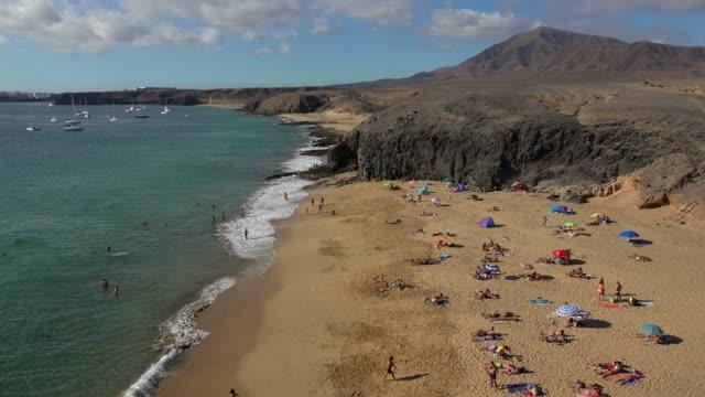 beach at playas de papagayo, lanzarote, canary islands, spain, atlantic, europe - mediterranean culture stock videos and b-roll footage