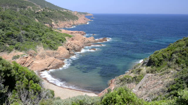 beach at rocky coast of massif de l`esterel - var stock videos & royalty-free footage