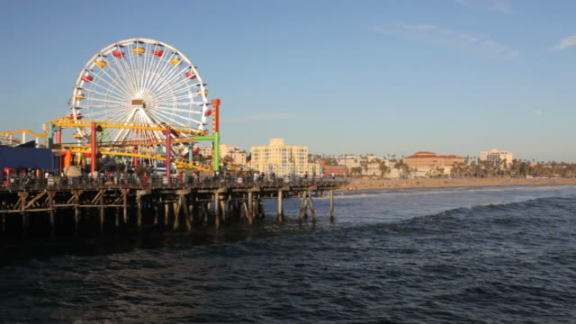 beach at santa monica pier - santa monica pier stock videos & royalty-free footage