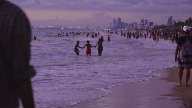 beach at sri lanka with colombo skyline on the background. mount lavinia - sri lanka stock videos & royalty-free footage