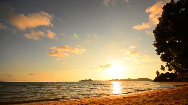 vídeos y material grabado en eventos de stock de playa al atardecer con hermoso paisaje con nubes - full hd format