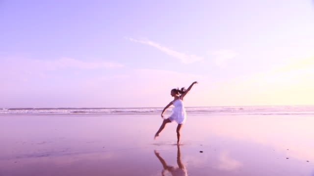 beach ballet - one teenage girl only stock videos & royalty-free footage