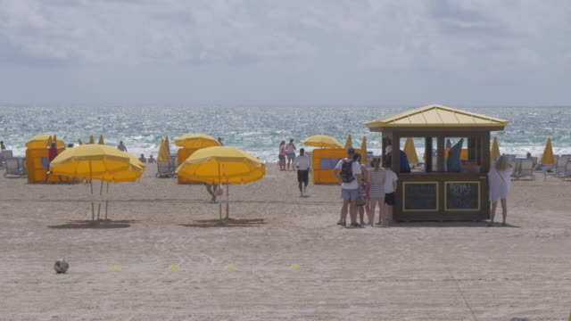 Beach bar and sun shades on Miami Beach, South Beach, Miami, Florida, United States of America, North America
