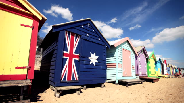beach bathing boxes in brighton (melbourne, australia) - victoria australia stock videos & royalty-free footage