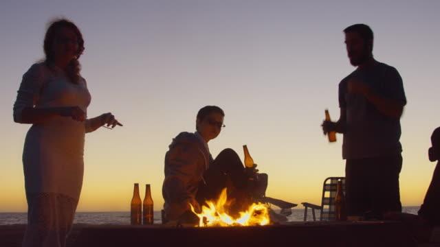 Beach Bonfire After Sunset