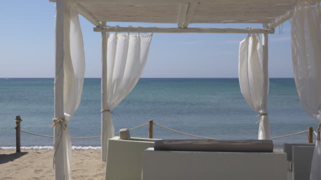 stockvideo's en b-roll-footage met a beach cabana at sea - gazebo